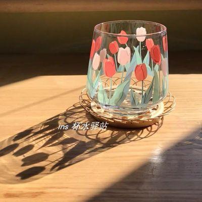 韩国ins风复古少女心印花郁金香玻璃杯牛奶咖啡杯果汁杯子简约风