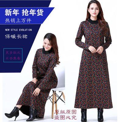 2018新款.民族风.保暖加绒加厚.大码女装.显瘦连衣长裙Q1880款