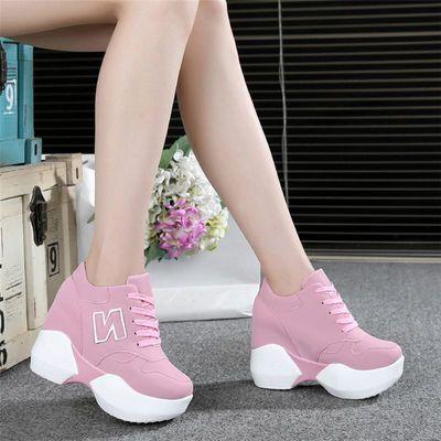 春季新款厚底10cm内增高女鞋粉色坡跟休闲鞋百搭网纱超高跟运动鞋