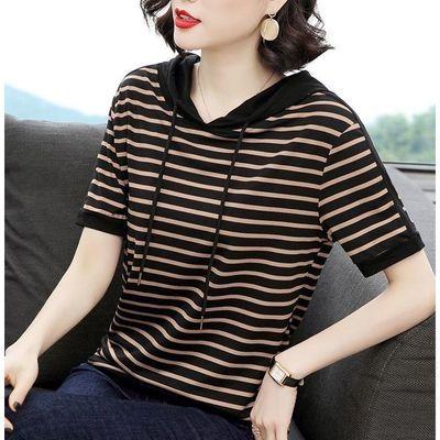 夏季t恤女短袖卫衣女2020新款韩版减龄大码宽松条纹连帽时髦上衣