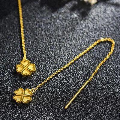黄金色耳线耳环长款四叶草苏流韩版气质百搭珠宝金耳饰品耳钉女友