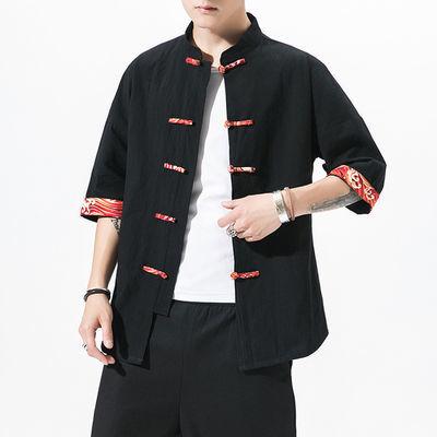 彝族服饰男装上衣大凉山彝族男士衣服民族花边男士外套