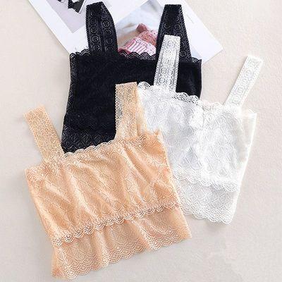 1-2件 蕾丝裹胸抹胸女夏打底内衣美背带胸垫学生短款吊带小背心女