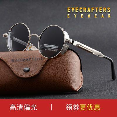 欧美朋克哥特风潮男女太阳镜 圆形复古偏光墨镜 彩膜时尚个性眼镜