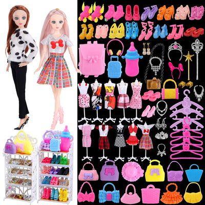 芭比娃娃鞋子套装大礼盒古装饰品包包衣服服饰配件饰品过家家玩具
