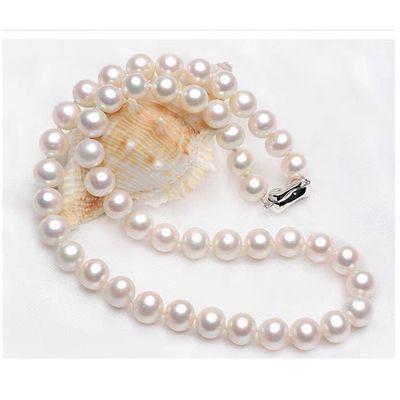 纯天然淡水珍珠项链中年女士高档母亲节礼物送妈妈近圆强光锁骨链