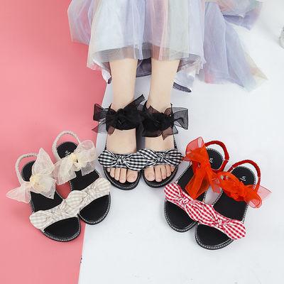 儿童凉鞋女夏季2020新款韩版蝴蝶结时尚百搭软底学生中大童女凉鞋