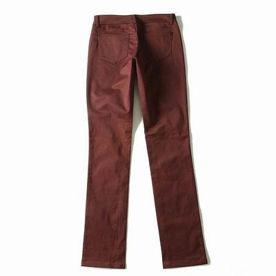 外贸中腰长款舒适纯色百搭光面小脚裤休闲通勤修身韩版西裤