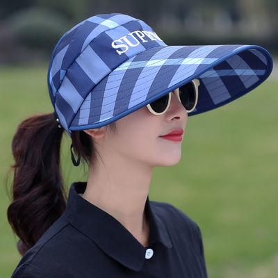 帽子女春夏太阳帽大帽檐遮脸防晒帽户外骑车防紫外线遮阳帽空顶帽