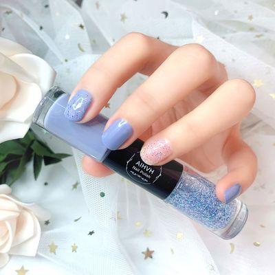 双色网红指甲油笔雾霾蓝免烤防水持久不可剥不掉色显白美甲带亮片