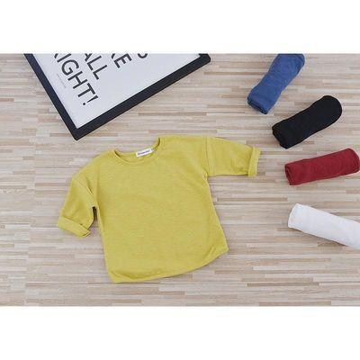 春秋款童装男童宝宝儿童韩版纯棉长袖t恤衫纯色女童打底衫上衣潮