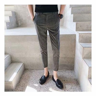 秋季男裤修身休闲裤子男九分裤西裤男西装裤格子裤韩版黑色小脚裤