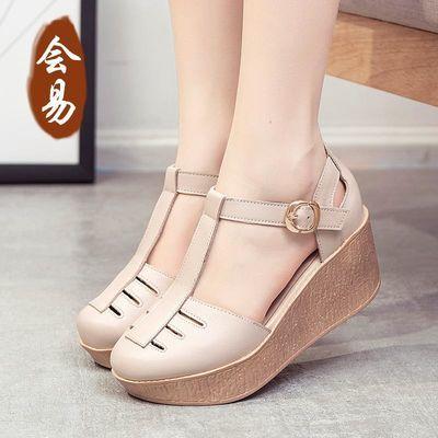 原创2020夏季新款特色个性原创厚底皮凉鞋女休闲舒适高跟女