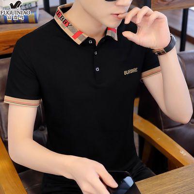 富贵鸟2020夏季新品男士短袖t恤青少年韩版修身翻领POLO衫男上衣