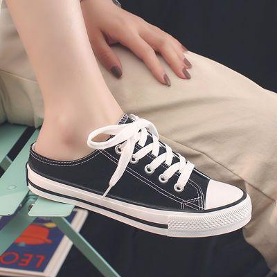 半托板鞋懒人系带帆布鞋女学生韩版低帮平底初中生女士休闲鞋子女