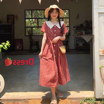 大码女装夏季新款法式复古小众桔梗胖MM娃娃领中长收腰显瘦连衣裙