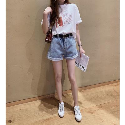 韩国2020夏季新款韩版高腰牛仔裤女短裤宽松a字翻边阔腿热裤子潮