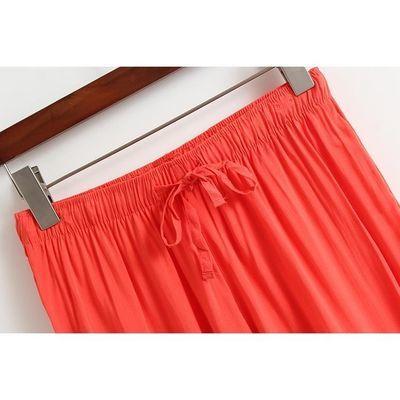 外贸春夏季女士洋气百搭纯色高腰阔腿裤宽松显瘦舒适简约九分裙裤