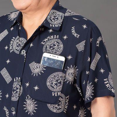 爸爸短袖衬衫男夏装棉绸衬衣中老年人男装60-70岁老爷爷衣服夏天