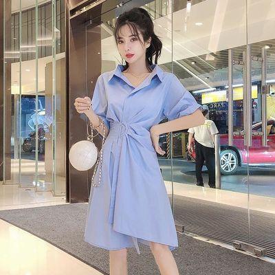 衬衫裙子2020夏款韩版纯色polo领短袖收腰不规则洋气显瘦连衣裙女
