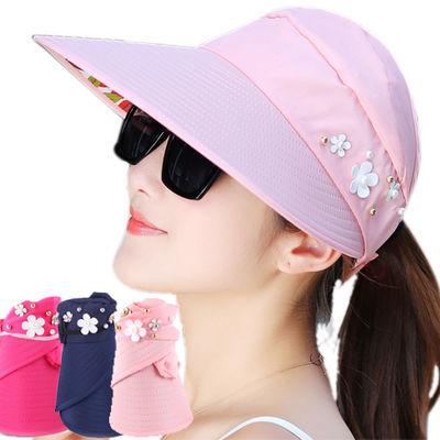 帽子女夏遮阳帽夏天女士潮防紫外线大沿沙滩太阳帽防晒可折叠凉帽