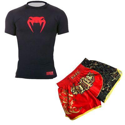 UFC格斗训练服拳击散打自由搏击泰拳短袖短裤长袖长裤健身四件套