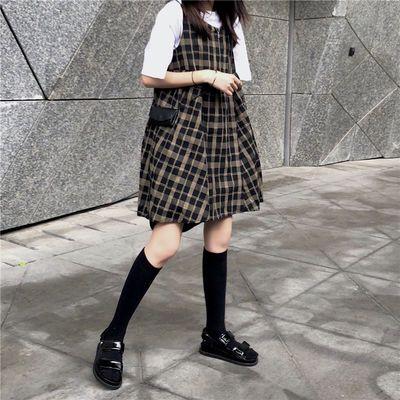 夏季新款韩版学院风百搭宽松灯笼袖连衣裙女高腰A字裙娃娃裙学生