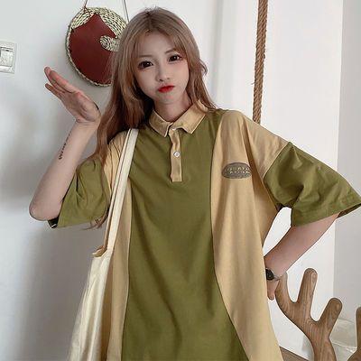 春装韩版2020新款设计感小众嘻哈风撞色POLO领宽松短袖T恤女学生