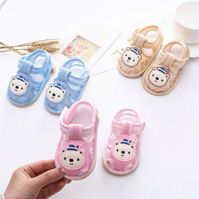 夏0-2岁宝宝凉鞋叫叫鞋软底男女宝防滑透气6-12个月婴幼儿学步鞋