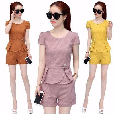 2020新款夏季套装女韩版修身气质夏季条纹两件套时尚短袖短裤套装