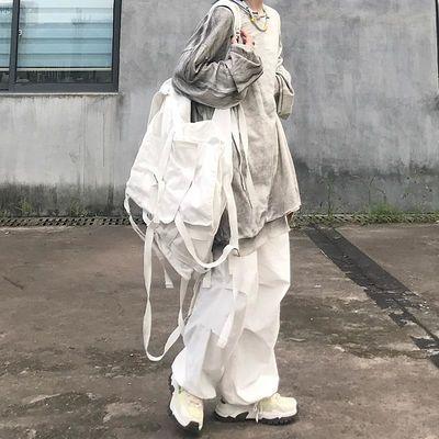 秋季19SS中性复古韩版宽松松紧灯笼裤阔腿裙裤宽版休闲工装裤男女