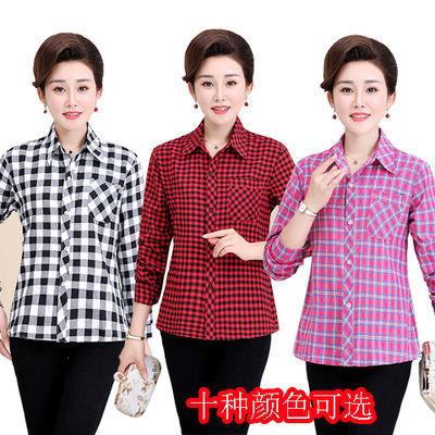 中年女装春秋长袖格子衬衫宽松大码中老年装薄款上衣40-50岁衬衣
