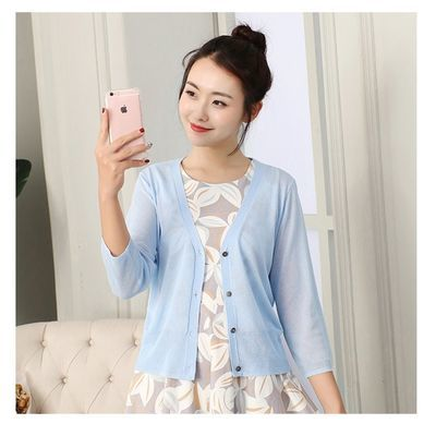 2020韩版防晒空调冰丝针织衫女开衫短款上衣薄外搭外套显瘦披肩夏