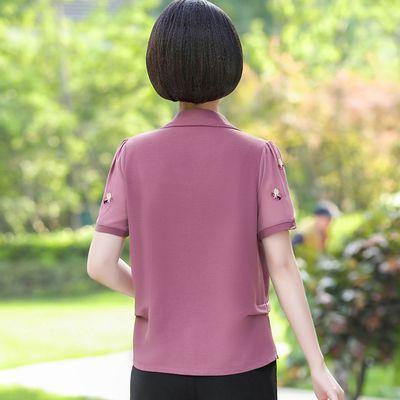 妈妈夏装2019新款时尚中年翻领宽松短袖T恤中老年女装两件套装潮