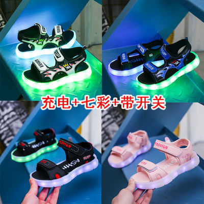 防水充电儿童发光鞋带灯凉鞋男童女童闪光鬼步鞋宝宝亮灯鞋夜光鞋