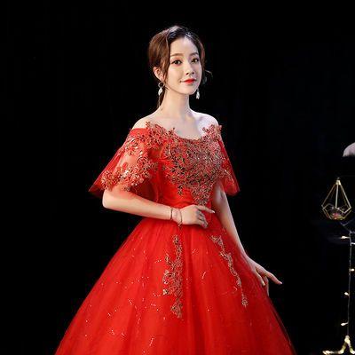 一字肩婚纱礼服新娘2020春夏新款韩式齐地婚纱修身显瘦包肩红色