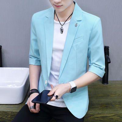 新款夏季韩版中袖小西服男青少年修身中袖西装青年七分袖外套男潮