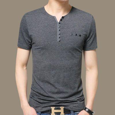 高品质95棉】男士短袖T恤V领纯棉加肥大码男装半袖体恤宽松男t恤