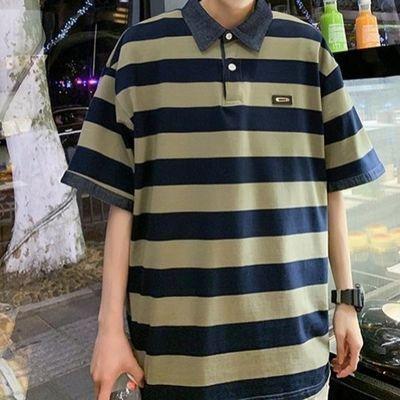 夏季polo短袖男T恤男宽松休闲百搭潮流潮牌日系翻领条纹短袖PL衫