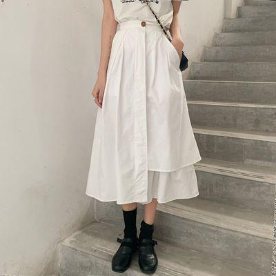 实拍韩国2020春夏新款女装韩版宽松网红设计感不规则中长款半身裙