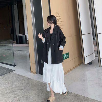 春秋新款黑色西装外套女韩版时尚英伦风宽松复古小西服宽松外套