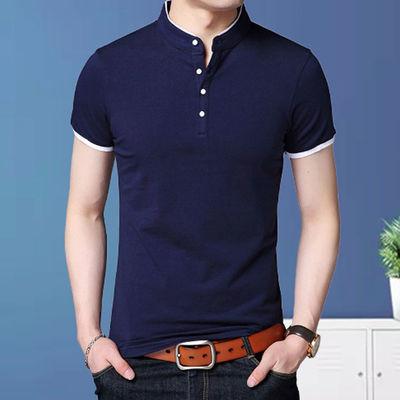 纯棉男装夏季立领薄短袖t恤男士修身加肥大码纯色中青年打底衫T恤