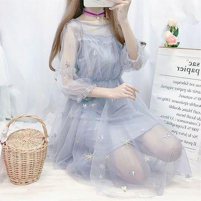两件套超仙星星刺绣网纱仙女裙夏季韩版新款学生收腰灯笼袖连衣裙