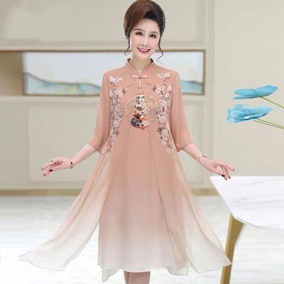 妈妈夏装洋气旗袍连衣裙中年女遮肚假两件高贵雪纺过膝气质裙子