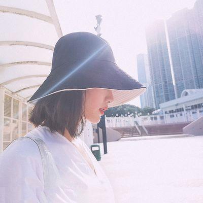UK日本原单大S双面拼色遮阳防晒紫外线帽大檐UCUT同款渔夫帽子
