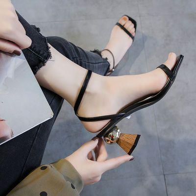 2020款粗跟后拉链性感S带高跟鞋夏时尚罗马女鞋一字扣细跟凉鞋女
