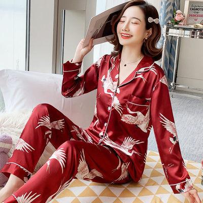 新款睡衣女春秋冰丝绸长袖薄款夏季开衫仿真丝加肥大码套装家居服
