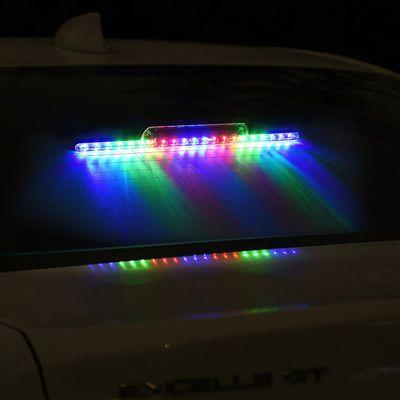 汽车太阳能爆闪灯防追尾装饰灯警示灯霹雳游侠LED车内流水呼吸灯