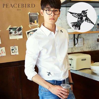 太平鸟男装 刺绣衬衫男长袖2019秋季新款纯棉白色休闲韩版衬衣男