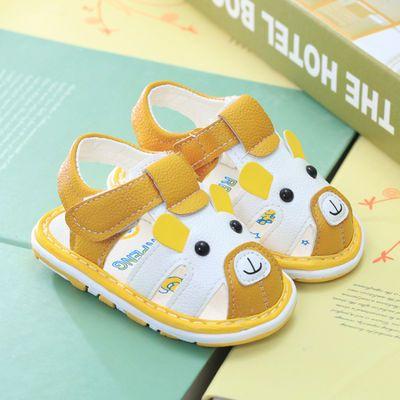 夏款男女童宝宝鞋软底学步鞋牛筋底儿童凉鞋婴儿凉鞋包头防滑三色